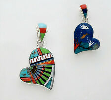 CUTE HANDMADE HEART PENDANT IN .925 SILVER WITH TURQUOISE/MULTICOLOR STONE INLAY