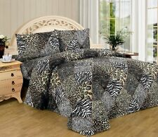 WPM Black White Leopard Zebra King Size Sheet Set 4 Pc Safari Animal Print