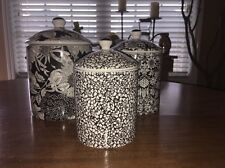 Liberty Of London Target Set Of Canisters White Black Floral Set Of Three