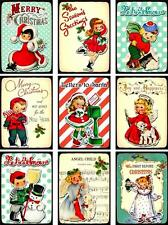 9 CHRISTMAS CHILDREN RETRO - LAMINATED SCRAPBOOK CARD PAPER CRAFT HANG GIFT TAGS