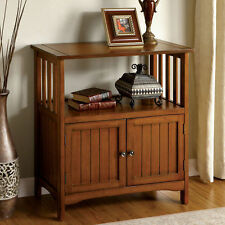 MISSION Style Wood Oak Double Side Doors 1 Shelf Accent Table Storage Cabinet