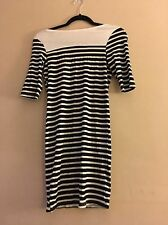 New York Laundry Black And White Striped Dress With Scooped Back Size Uk 8