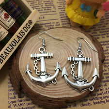 Free shipping Antique Silver Jewelry Anchor earring!