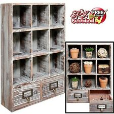 Vintage Rustic Wood Shelf Rack Wall Mounted Storage Drawer Display Furniture Box