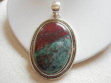 Lg Gorgeous Sterling Silver Pendant Polished Natural Stone Pendant  RE3636