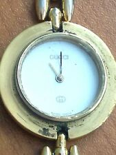 Auth. GUCCI 1100/1200 Series Yellow Gold Plated Rice Link Watch~PARTS/REPAIR
