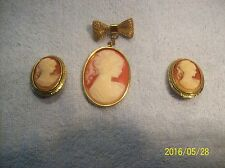 Cameo Vintage Brooch With Dangling Bow & Clip On Earrings Set Gold Tone
