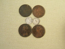 SIX  OLD  HONG  KONG  COINS... SILVER & BRONZE...  QUEEN VICTORIA & LATER  'D'