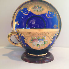 Murano Italy Venetian Blown Glass Cobalt Blue and Gold Cup and Saucer with Paint