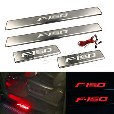 LED light 4 Door Stainless Scuff Plate Door Sill Guard For 2009-2014 Ford F-150