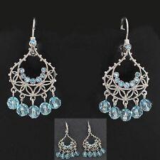 Vintage Inspired Chandelier Earrings w/ Light Blue Stones & Pierced Leverbacks