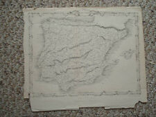 1850 ANTIQUE MAP SPAIN PORTUGAL Superb Ornate Border NR