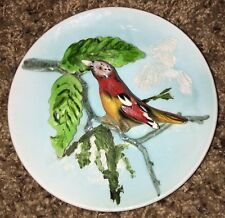 """Vintage Ceramic Lefton Hand Painted 3D Wall Hanging Plate Red Bird Small 5"""""""
