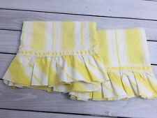 Vintage Martex Yellow White Stripe Pillow Cases Martex Ruffle Standard Case 2