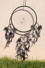 NEW LARGE BLACK DREAM CATCHER HANDMADE WITH LEATHER & FEATHER CAR WALL DECOR