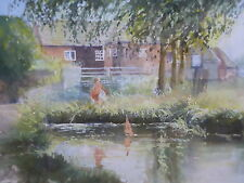 WATERCOLOUR BOY BY THE POND BRIGHTON ARTIST HENRY MILLER    FREE SHIPPING