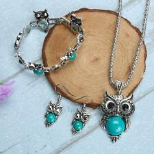 Women Tibetan Silver Turquoise Necklace Stud Earrings & Bracelet Owl Jewelry Set