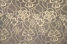 "59"" Beige Floral Spiral Curtain  LACE Fabric By the Yard"