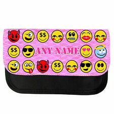 PERSONALISED PINK SMILEY FACE EMOTICON PRINT SCHOOL PENCIL CASE / MAKE UP BAG