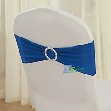 50pc Elegant Wedding Party Chair Cover Decor Sashes W/ Silver Buckle Banquet Bow