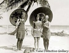 Beauties on the Beach with Parasols, Miami, Florida 1923 - Historic Photo Print