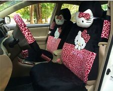** 18 Piece Black&Pink Leopard Hello Kitty Car Seat Covers **