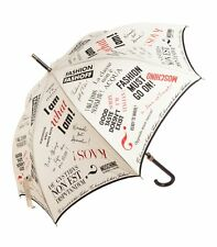 MOSCHINO UMBRELLA *I am Fashion* Beige, Black & Red Print LARGE & BNWT