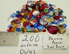 200 Vtg Glass Rhinestone Lot UNFOILED Oval Faceted Jewelry Craft Repair Juliana