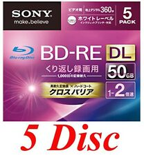 5 Sony Blank Blu-ray Discs 50GB BD-RE DL 2x bluray Japan