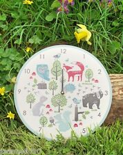 GISELA GRAHAM FOREST FRIENDS ANIMAL OWL FOX WOODEN WALL CLOCK RETRO HOME GIFT