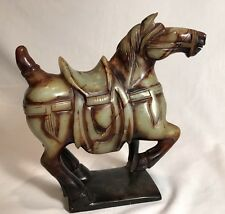 LARGE Chinese Green & Brown Hetian JADE Carved TANG Horse Carving - VINTAGE!
