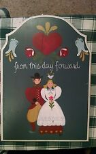 Amish Couple Marriage Hand Painted Wood Wall Plaque Hand Crafted Jane Jones
