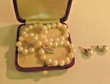 Genuine Vintage cultured pearl Necklace 14k clasp and earrings 10k gold posts