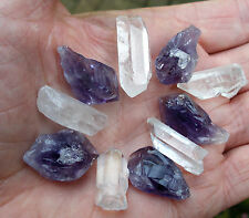 10 x TINY POINTS * 5 QUARTZ CRYSTAL  * 5 AMETHYST 12mm - 16mm GIFT BAG & ID CARD