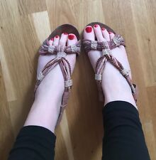 TOPSHOP SIZE 6 GLADIATOR PINK ROSE GOLD CHAIN FLAT SANDALS WELL WORN SHOES