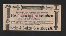 GEVELSBERG, Anzeige 1909, Henke & Dörken Eisengewindeschrauben