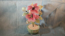 Repro Chinese Jade Tree Carnelian Rose Quartz Agate Stone/Glass Flower Plant