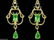 E040 - SUPERB Genuine 9ct SOLID Gold NATURAL Emerald FILIGREE Earrings