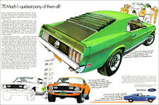 24x36 1970 Ford Mustang Mach 1 428 Cobra Jet Ad Poster Art Brochure Pony Car 351