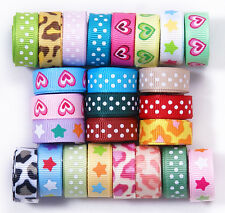 """25 YDS 3/8"""" MIXED 25 style craft star heart leopard printed grosgrain ribbon lot"""