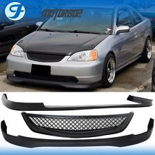 TYPE R FRONT REAR BUMPER LIP & FRONT HOOD GRILL FOR 01-03 HONDA CIVIC