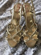 Ann Harvey Gold Strappy Shoes Sandals Shoes Size 6 Eu 39 New Seconds