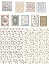 Dollhouse Miniature Floral Computer Printed  Fabric Quilt Top Rugs 1:48 Cotton