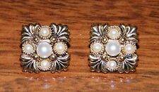 """Avon Fashion Jewelry Squared Gold Toned & Small Faux Pearl Stud Earrings! 1/2"""""""