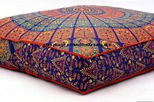 "Large Indian Meditation Floor Pillow Cover 35"" Mandala Ottoman Cushion Dog Bed"