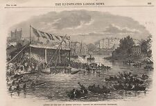 1866 LAUNCH OF EXETER LIFE BOAT TESTING ITS SELF RIGHTING PROPERTIES