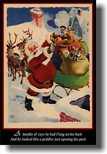 Santa Opening His Toy Pack - Jolly St. Nick - NEW Christmas Xmas POSTER