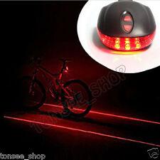 Radsport Bike Fahrrad  2 Laser Projektor Red Lamp Beam und 3 LED Rear Tail Light