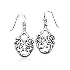 Unusual Sterling Silver Dancing Water Celtic Knot Hook Earrings