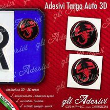 2 Adesivi Stickers bollino 3D Resinato targa Auto Moto Abarth Black & Red
